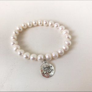 "Fresh Water Pearl Bracelet with Silver ""K"" Charm"